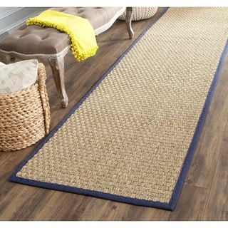 Safavieh Casual Natural Fiber Natural and Blue Border Seagrass Runner (2'6 x 16')