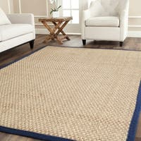 Safavieh Casual Natural Fiber Natural and Blue Border Seagrass Rug - 5' x 8'