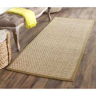 "Safavieh Casual Natural Fiber Natural and Olive Border Seagrass Runner (2'6"" x 14')"