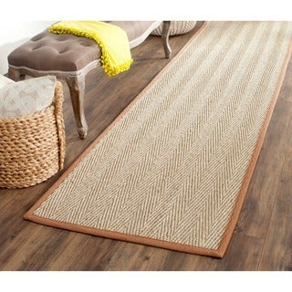 Safavieh Casual Natural Fiber Hand-Woven Sisal Natural / Medium Brown Seagrass Runner (2'6 x 14')