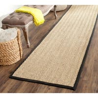 Safavieh Casual Natural Fiber Hand-Woven Sisal Natural / Black Seagrass Runner (2'6 x 14')