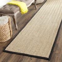 Safavieh Casual Natural Fiber Hand-Woven Sisal Natural / Black Seagrass Runner Rug - 2'6 x 16'