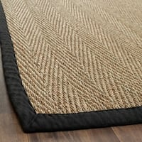 "Safavieh Casual Natural Fiber Hand-Woven Sisal Natural / Black Seagrass Runner (2'6 x 4') - 2'6"" x 4'"