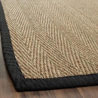 "Safavieh Casual Natural Fiber Hand-Woven Sisal Natural / Black Seagrass Runner (2'6 x 4') - 2'6"" x 4'"