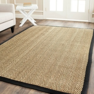 Safavieh Casual Natural Fiber Hand-Woven Sisal Natural / Black Seagrass Rug (6' Square)