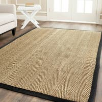 Safavieh Casual Natural Fiber Hand-Woven Sisal Natural / Black Seagrass Rug - 6' x 6' Square