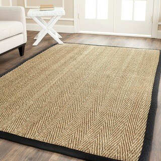 Safavieh Casual Natural Fiber Hand-Woven Sisal Natural / Black Seagrass Bordered Rug (8' Square)