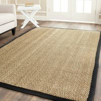 Safavieh Casual Natural Fiber Hand-Woven Sisal Natural / Black Seagrass Bordered Rug - 8' x 8' Square