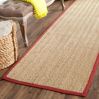 "Safavieh Casual Natural Fiber Hand-Woven Sisal Natural / Red Seagrass Runner Rug (2'6"" x 6')"