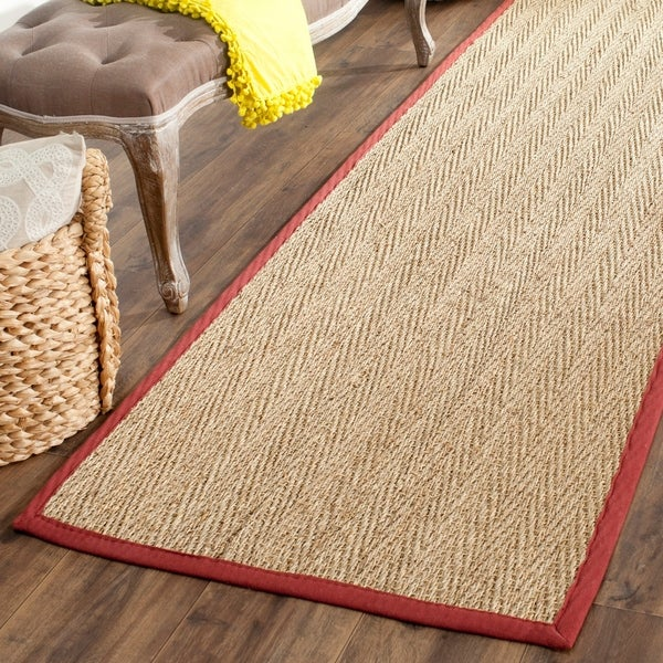 """Safavieh Casual Natural Fiber Hand-Woven Sisal Natural / Red Seagrass Runner Rug - 2'6"""" x 6'"""