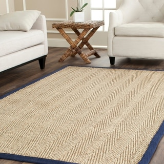 Safavieh Casual Natural Fiber Herringbone Natural and Blue Border Seagrass Rug (5' x 8')