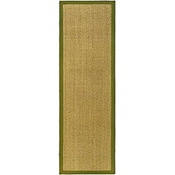 Safavieh Casual Natural Fiber Herringbone Natural and Olive Border Seagrass Runner (2'6 x 14')