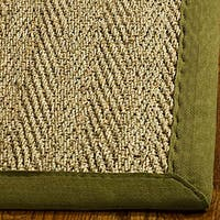 Safavieh Casual Natural Fiber Herringbone Natural and Olive Border Seagrass Runner Rug - 2'6 x 14'