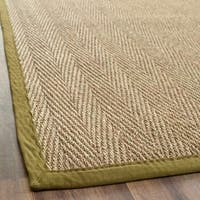 Safavieh Casual Natural Fiber Herringbone Natural and Olive Border Seagrass Runner Rug - 2'6 x 6'
