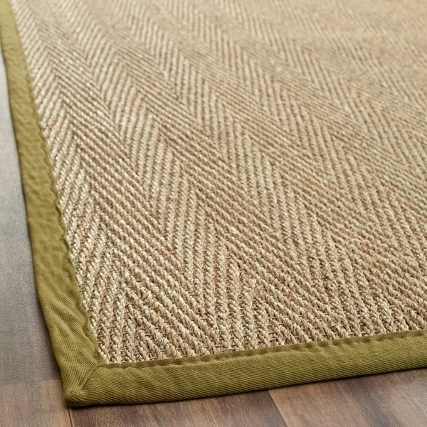 Safavieh Casual Natural Fiber Herringbone Natural and Olive Border Seagrass Runner (2'6 x 6')