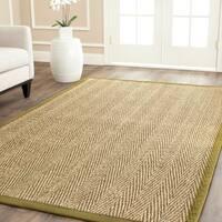 Safavieh Casual Natural Fiber Herringbone Natural and Olive Border Seagrass Rug - 8' x 8' Square