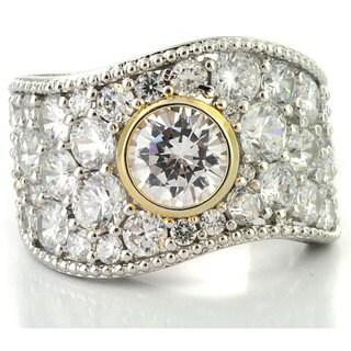 Michael Valitutti Palladium/ Silver/ 14k Gold Clear Cubic Zirconia Ring