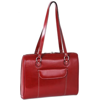 McKlein 'Glenview' Red Leather 17-inch Laptop Case