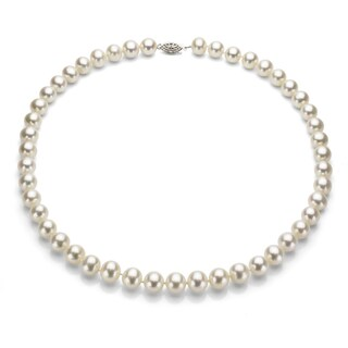 Sterling Silver White Akoya Pearl High Luster 24-inch Necklace (5.5-6 mm)