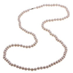 DaVonna Sterling Silver Akoya Pearl High Luster 30-inch Necklace (5.5-6 mm)