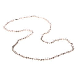DaVonna Sterling Silver Akoya Pearl High Luster 36-inch Necklace (5.5-6 mm)