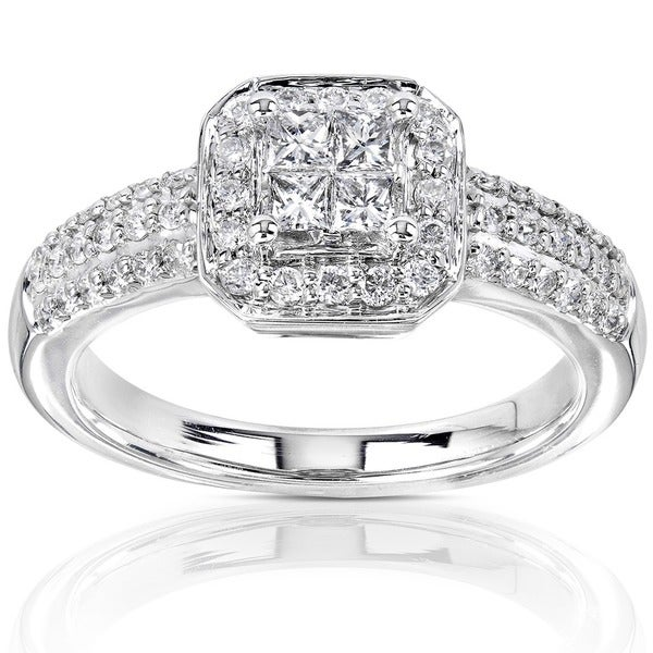Annello by Kobelli 14k Gold 1/2ct TDW Princess-cut Diamond Invisible Setting Halo Engagement Ring - White