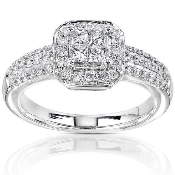 Annello by Kobelli 14k Gold 1/2ct TDW Princess-cut Diamond Halo Engagement Ring (H-I, I1-I2)