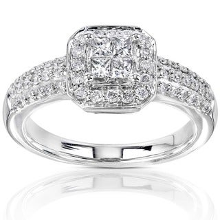Annello by Kobelli 14k Gold 1/2ct TDW Princess-cut Diamond Halo Engagement Ring