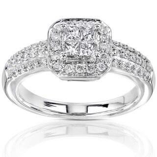 Annello by Kobelli 14k Gold 1/2ct TDW Princess-cut Diamond Halo Engagement Ring (Option: 4)