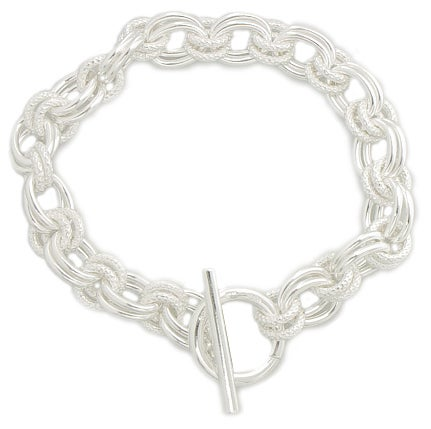 Sterling Essentials Sterling Silver Handmade Link Toggle Bracelet (7.5-inch)