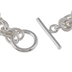Sterling Essentials Sterling Silver Handmade Link Toggle Bracelet (7.5-inch) - Thumbnail 1