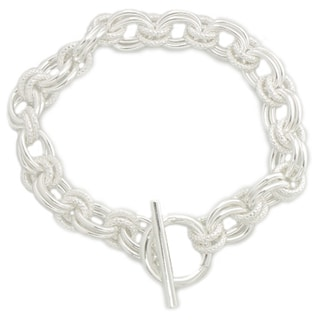 Sterling Silver Handmade Link Toggle Bracelet (7.5-inch)