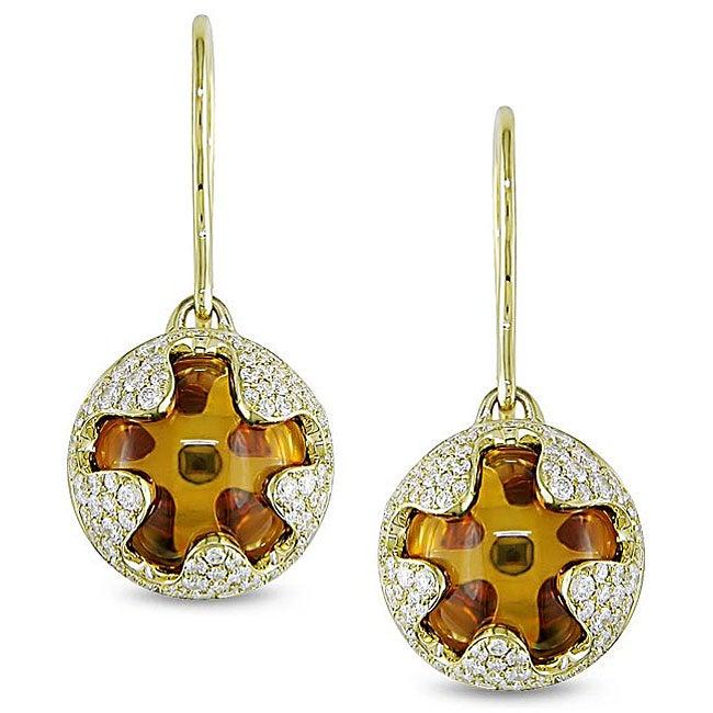 Miadora 18k Yellow Gold Citrine and 7/8ct TDW Diamond Earrings (G-H, SI1-SI2)