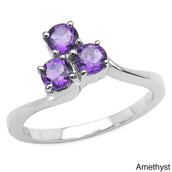 Malaika Sterling Silver 3-gemstone Ring