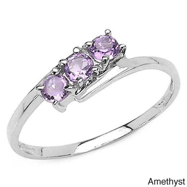 Malaika Sterling Silver Round-cut 3-gemstone Bypass Ring