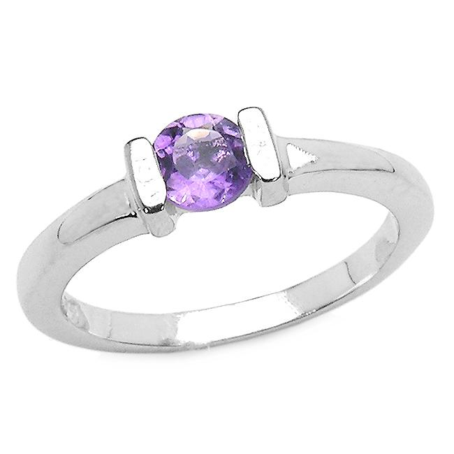 Malaika Sterling Silver Round-cut Amethyst Solitaire Ring
