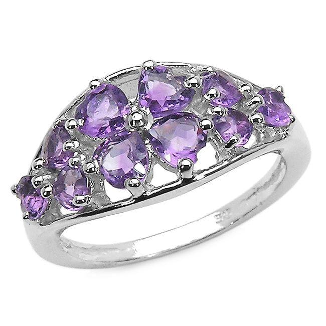 Malaika Sterling Silver Heart-cut Amethyst Openwork Ring