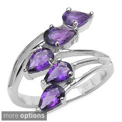 Malaika Sterling Silver Pear-cut Amethyst or Blue Topaz Split Band Bypass Ring