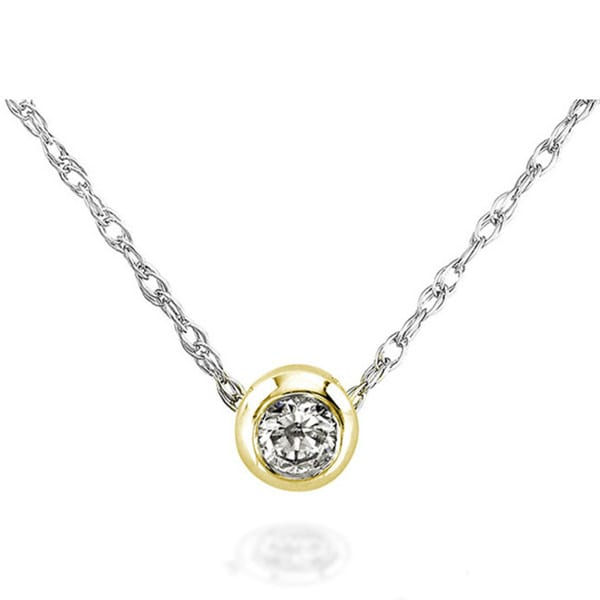 Annello 14k Gold 1/10ct TDW Diamond Solitaire Necklace
