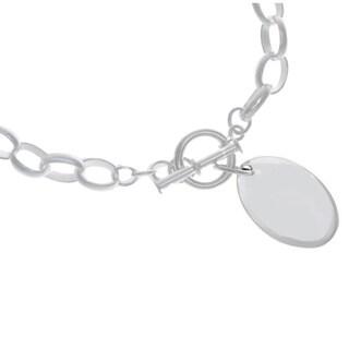 Sterling Essentials Sterling Silver Oval-shape Pendant Bracelet