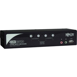 Tripp Lite 4-Port Desktop KVM Switch Audio, 2-Port USB, On-Screen Dis