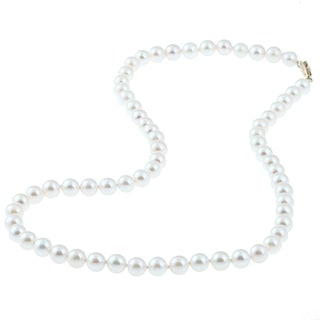 DaVonna 14k Gold White Akoya Pearl High Luster 16-inch Necklace (5.5-6 mm)