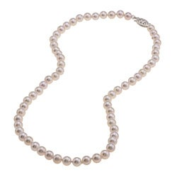 Sterling Silver White Akoya Pearl High Luster 16-inch Necklace (5.5-6 mm)