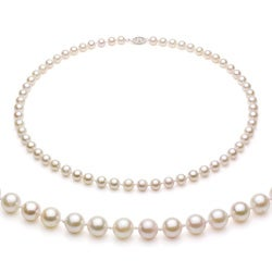 Sterling Silver White Akoya Pearl High Luster 16-inch Necklace (7-7.5 mm)