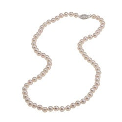 Sterling Silver White Akoya Pearl High Luster 18-inch Necklace (5.5-6 mm)