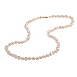 DaVonna 14k Yellow Gold Akoya Pearl High Luster 20-inch Necklace (5.5-6 mm)