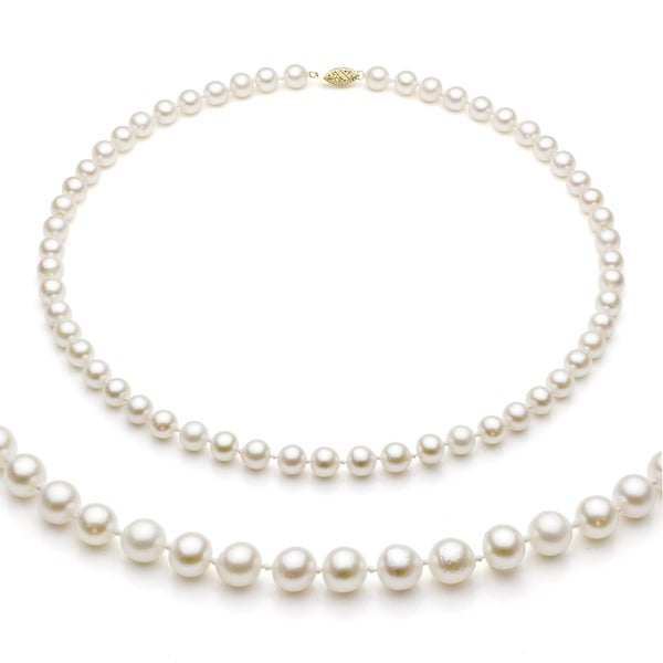 DaVonna 14k Gold White Akoya Pearl High Luster 20-inch Necklace (6.5-7 mm)