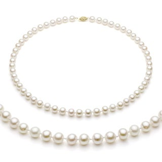 DaVonna 14k Gold White Akoya Pearl High Luster 20-inch Necklace (7-7.5 mm)