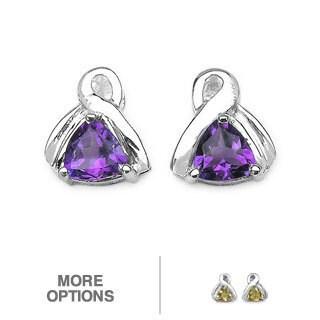 Malaika Sterling Silver Genuine Gemstone Stud Earrings