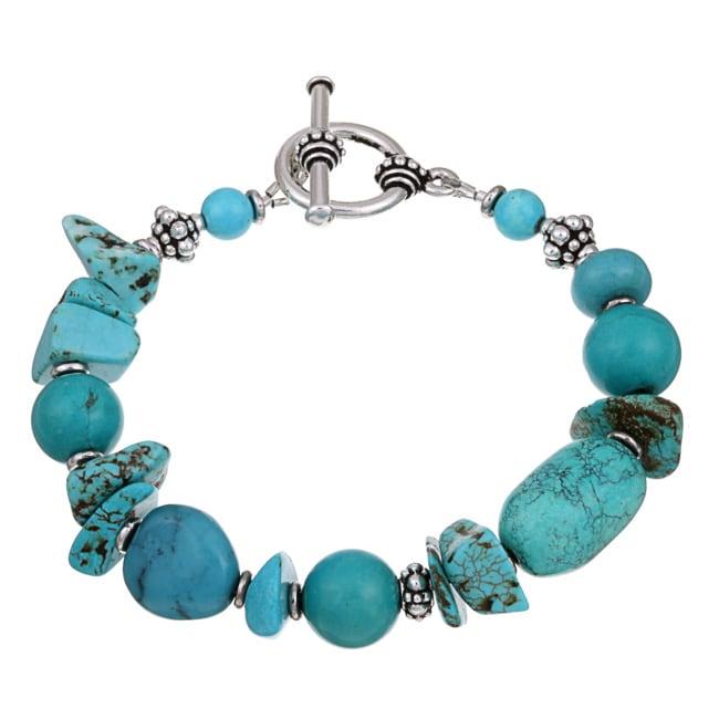 Lola's Jewelry Pewter Turquoise Chip Bracelet